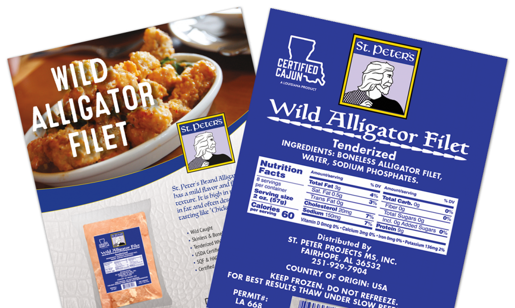 St. Peter's Brand Wild Alligator Filet product picture.